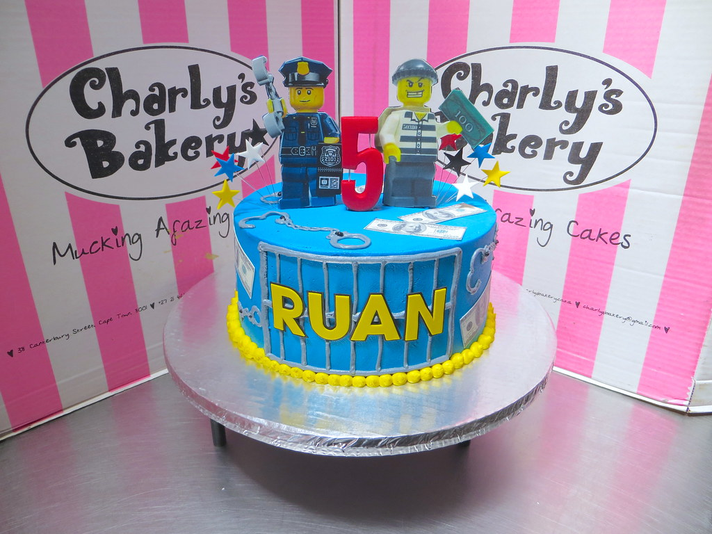 Awesome Lego Themed Cops Robbers 5Th Birthday Cake With Piped Pr Flickr Funny Birthday Cards Online Fluifree Goldxyz