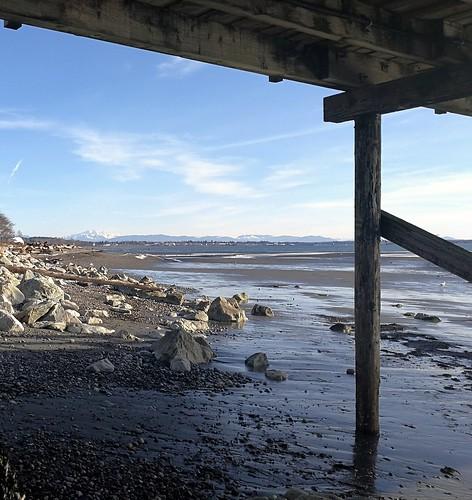 pier landscape view canada bc whiterock ocean distance lowtide