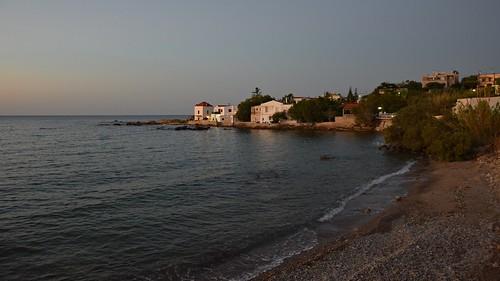 bluehour sea water mediterranean landscape seascape house building architecture evening beach island warm summer crete kriti kreta chania hania xania canea nature greece view kalamaki