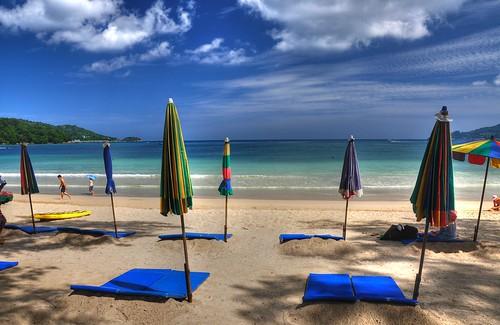 summer beach strand thailand bay asia asien sommer patong hdr bucht sonnenschirme