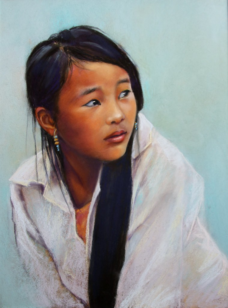 hua jeune fille h 39 mong pastel on pastel card 30 x 40 cm. Black Bedroom Furniture Sets. Home Design Ideas