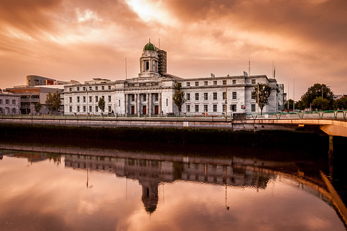 cork city hall riverlee river lee reflection sunrise albert quay lapps ireland terence mcswiney