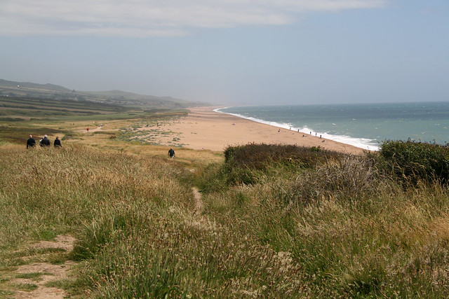 Chesil beach from the cliffs east of Burton Bradstock