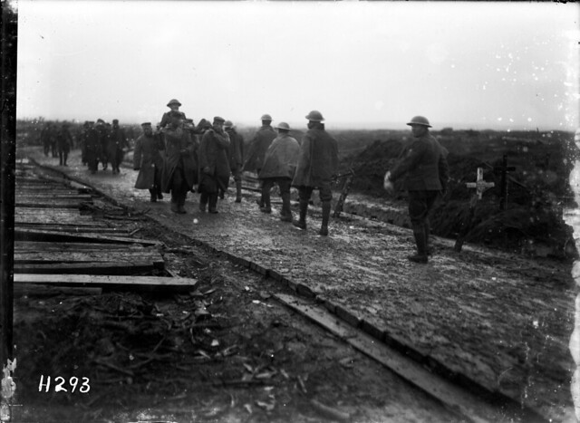 New Zealand troops move down a corduroy road, Ypres Salient - Alexander Turnbull Library