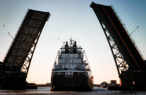 bridge sunset ohio lake industry water river evening harbor boat midwest industrial ship lakeerie places maritime blackriver drawbridge shipping trade waterway lorain bascule charlesberry