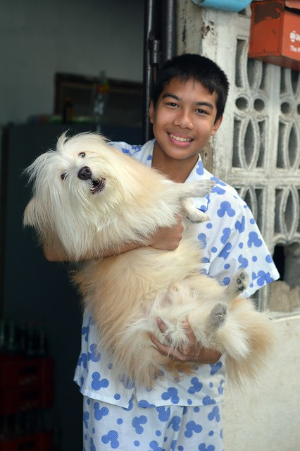 handsome young man with his dog