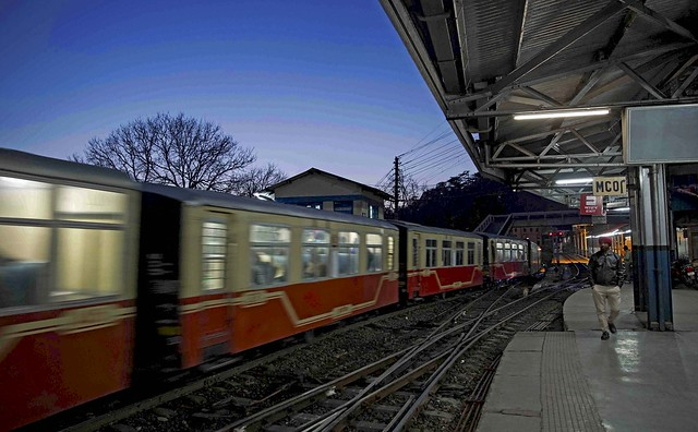 Last train of the day entering Shimla railway station (KSR)