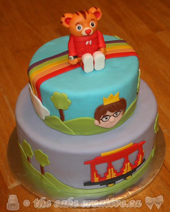 Fabulous Daniel Tiger Themed Birthday Cake Chocolate Cake With Stra Flickr Funny Birthday Cards Online Elaedamsfinfo