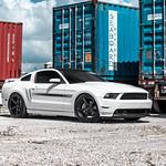 White Mustang GT/CS on Velgen Wheels Classic5 Matte Gunmetal 20x9 & 20x10.5