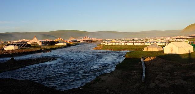 Sershul campsite, daybreak sunbeams touching the tents, everybody still asleep, so quiet. Tibet 2014