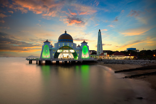 architecture asia beach blue building dawn dome dusk floating historical islam islamic landmark landscape malacca malaysia masjid melaka monument mosque muslim night ocean outdoor religion religious scene scenery sea selat sky straits sunset symbol tourism travel twilight view my