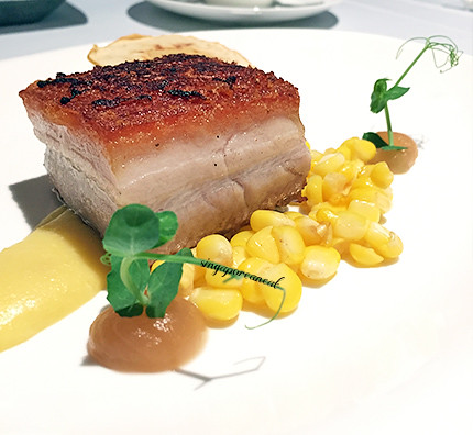Buona Terra 06 - Pancia di Maiale, mais e Mele (Seared Pork Belly with Corn, Apple and Red Cabbage with ricotta and mousseline potatoes | by singaporeaneats