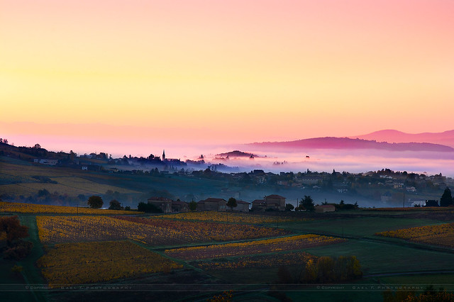 Village of Bois d'Oingt with first morning lights, Beaujolais, France