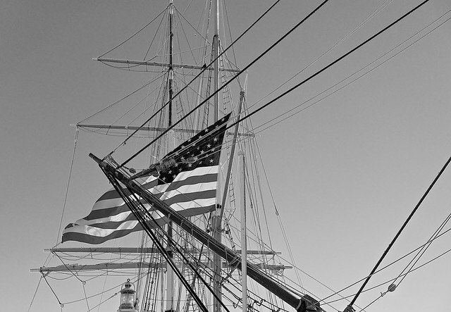 Flag of the USA on the Bark Rigged