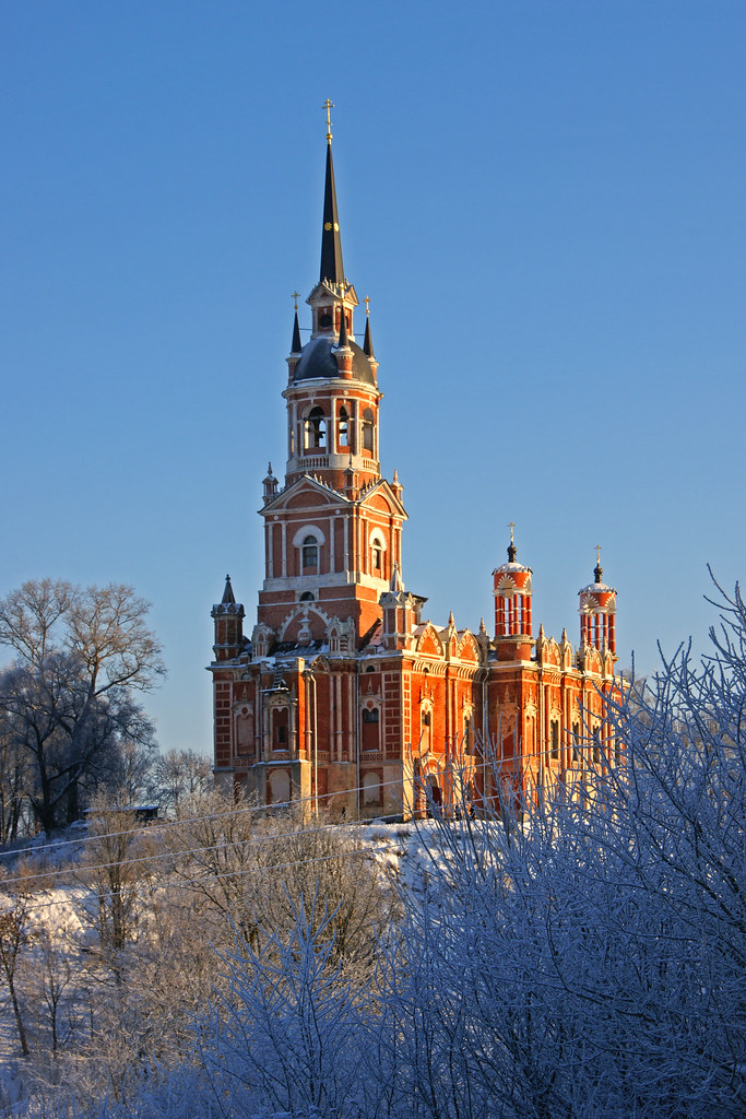 Mozhaysk Cathedral on a sunny frosty day, Russia