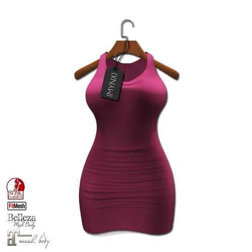 {MYNX} Fitted Dress - Deep Pink (Maitreya/Slink/Belleza/FitMesh)
