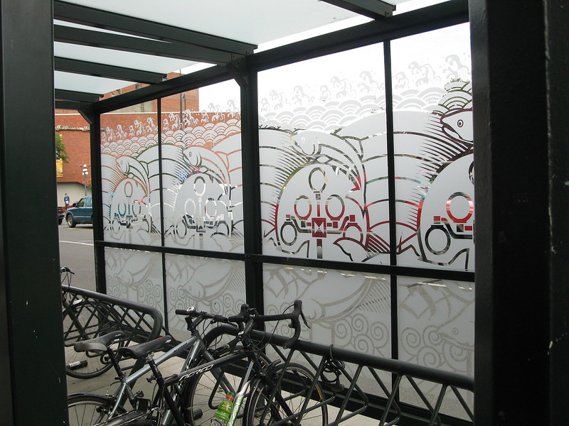 Glass etch MEC bike shelter glass or plexi