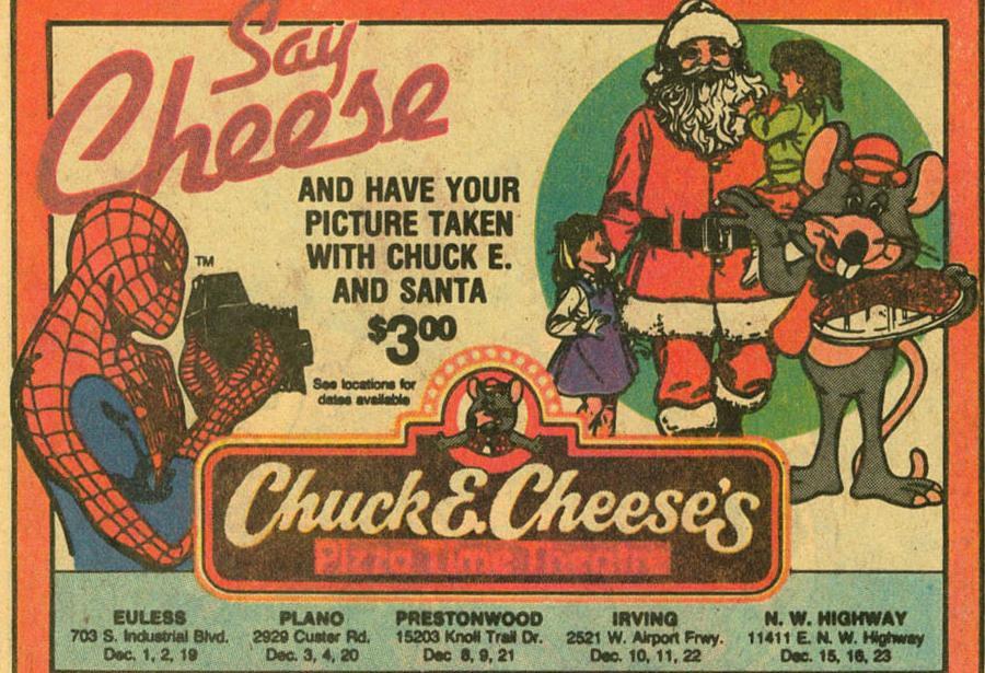 Chuck E Cheese Christmas.Ptt Christmas Santa Chuck E Cheese Vintage Ad Not My Photo