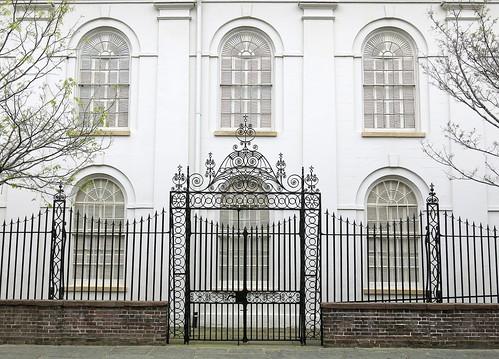 building church side window arch fence churchyard gate iron wrought ironwork lutheran clifford street john johns charleston sc southcarolina abraham reeves jacob roh