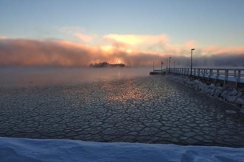 sea frozen morning crackedice dawn aurora seafog bluesky ice sunrise pier helsinki finland