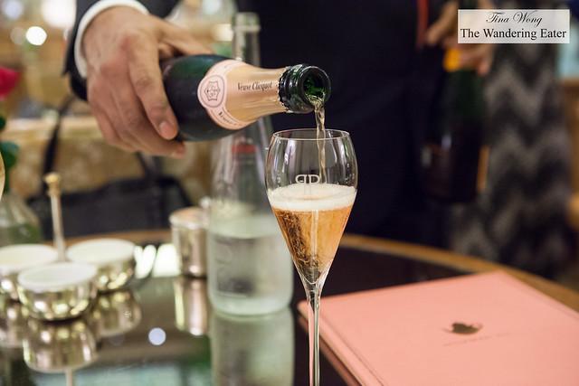 Pouring Veuve Cliquot Brut Rosé Champagne