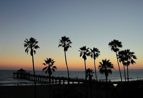 sunset orange usa tree beach water pier waves purple palm pacificocean mahattanbeach