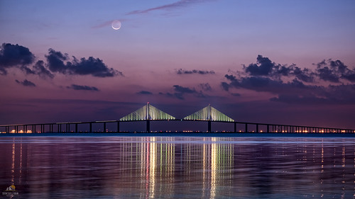 bridge moon sunrise reflections tampabay florida moonrise gulfcoast sunshineskywaybridge fortdesotopark nikond810