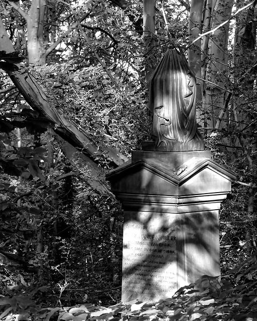 Grave in sunlight B&W