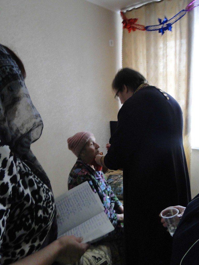 Причащение пожилых людей. Pritchashenie pozjilih ludey
