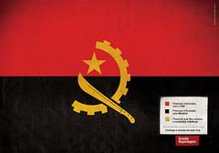 Angola: Rojo, personas infectadas con HIV. Negro, personas infectadas con malaria. Amarillo, personas con acceso a cuidados médicos.