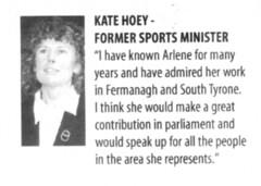 Kate Hoey endorses Arlene Foster..