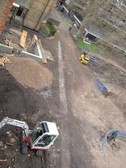 Revealing the concrete of the Meeting House Garden wall