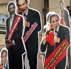 Bush, Saddam and Blair in effigy