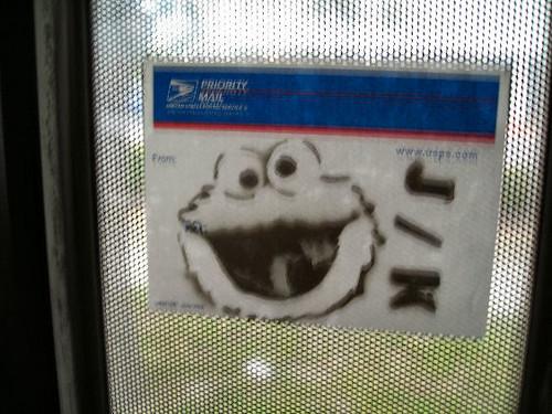 sticker graffiti- cookie monster | by scottobear