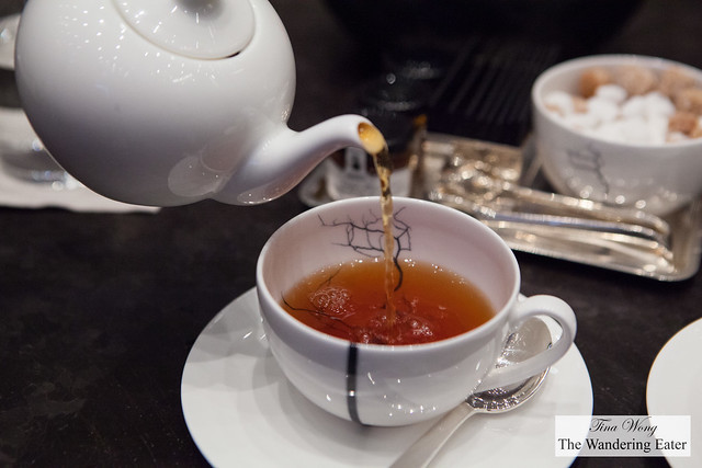 Pouring the Blue Grey tea