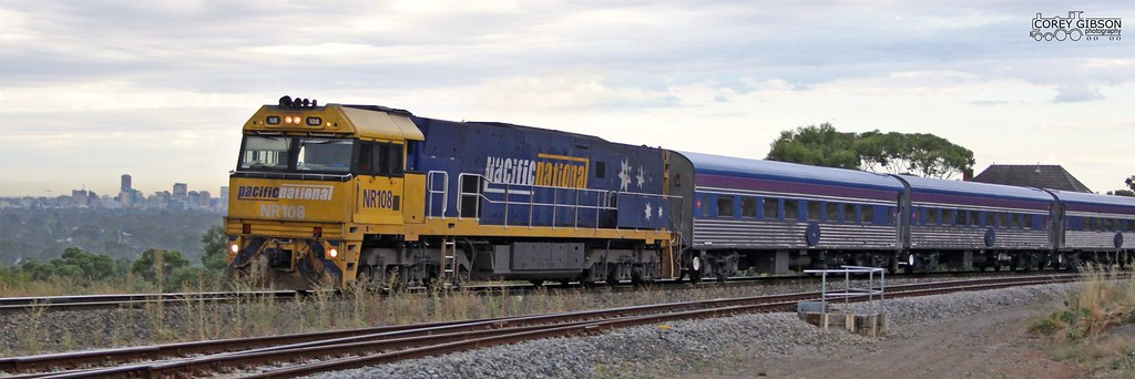 NR108 hauls the Overland out of Adelaide by Corey Gibson