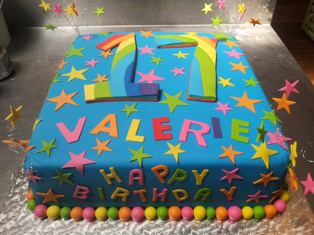 Brilliant Square Cake Covered In Blue Fondant Icing Decorated With F Flickr Funny Birthday Cards Online Overcheapnameinfo