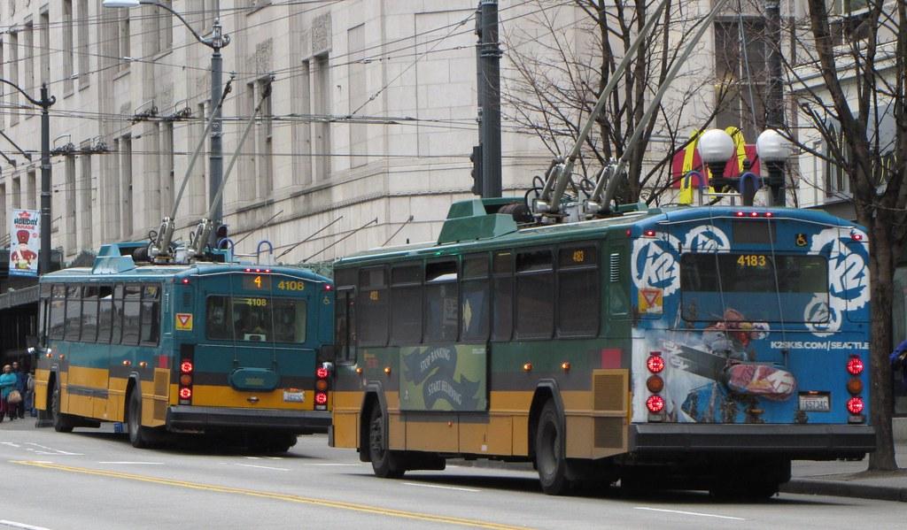 King County Metro 2001 Gillig Phantom Trolley 4183 And 410