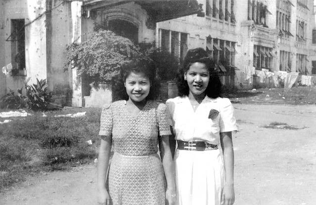 Delia and Aurora, Santo Tomas University coeds, Manila, Philippines, post war 1945-1946