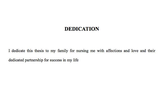 Sample Dedication Paragraph on Thesis Essay - Words