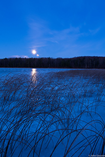 Moonrise on a Frozen Pond