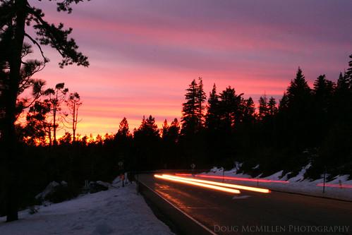 california road longexposure pink sunset sky cars carsonpass eldoradonationalforest january2011