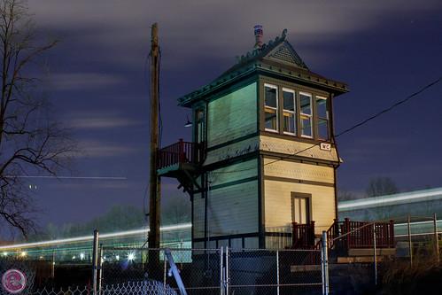 new usa tower night yard train switch long exposure nj transit jersey njt waldwick
