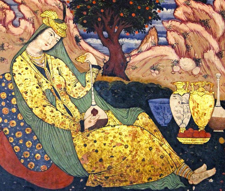 Safavid Art, Isfahan, Iran | A woman having wine in solitude… | Flickr