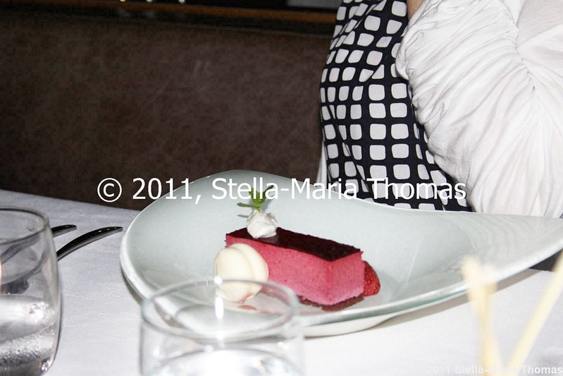WATERMARK - BLACKBERRY BAVAROIS, PRALINE SPHERE, MASCARPONE CREAM 012