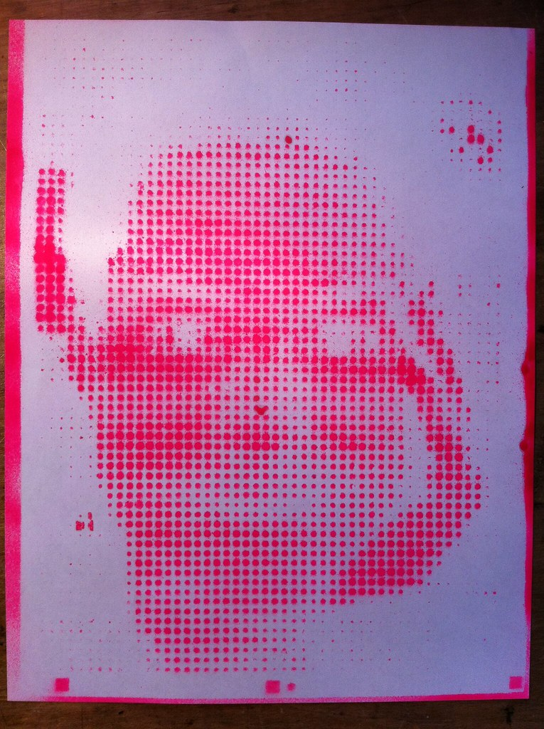 Spray painted laser cut halftone stencil | Using the wooden