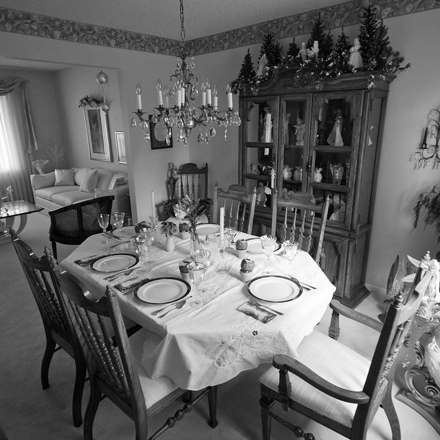 Thanksgiving Dining Table B&W