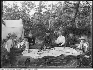 Group picnicking on Ball Island