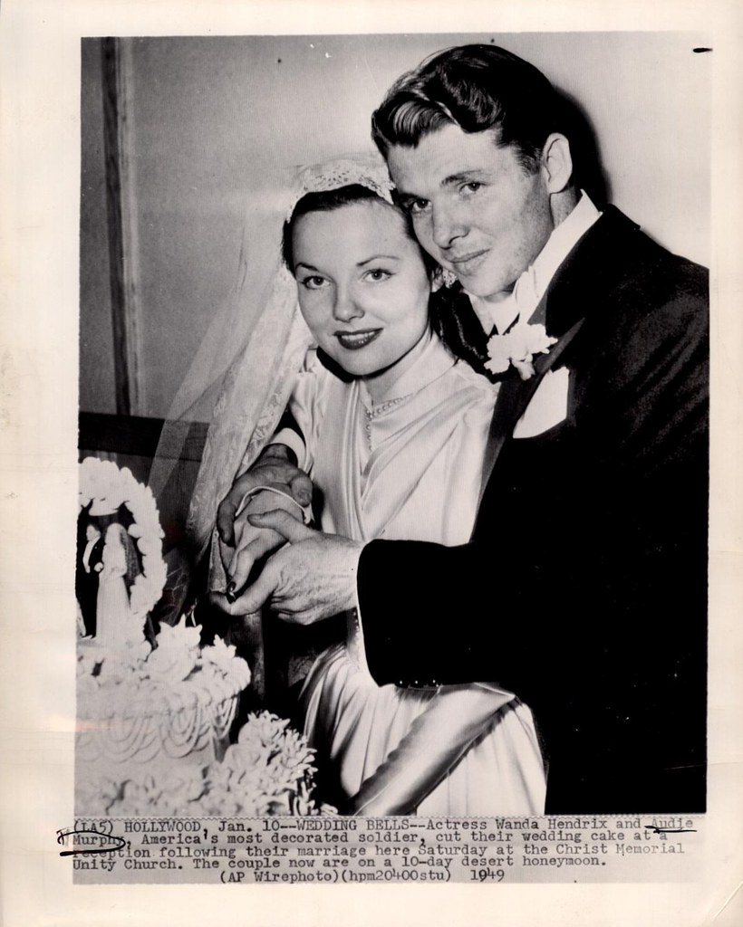 Image result for audie murphy and wanda hendrix wedding