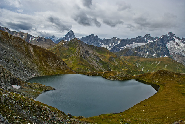 Lac de Fenêtre (2512m) And The Massive of Mont Blanc. The area of the Great St Bernard pass , Val Ferret .